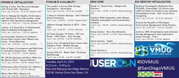 San Diego VMUG USERCON tracks agenda